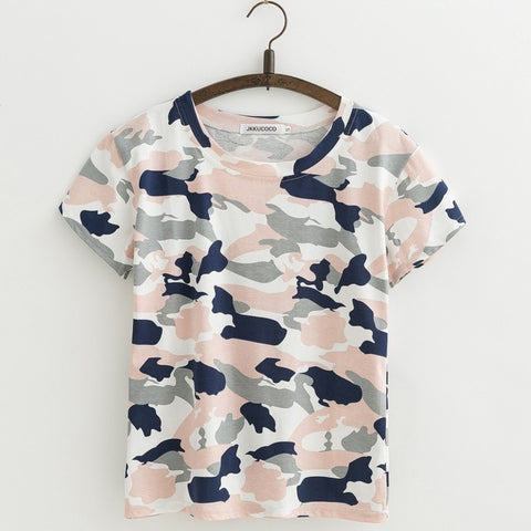 JKKUCOCO Camouflage T-shirt Women Tops tee Shirt Short Sleeve O-neck Casual t shirt Women Good Cotton t-shirts 3 Color XS-XL