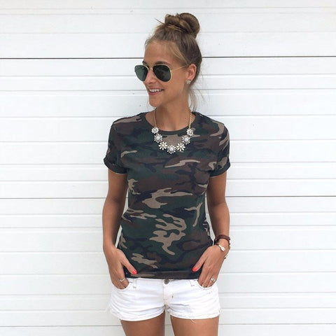 2017 Women Summer T-Shirt Camouflage Harajuku Short Sleeve O Neck Print Loose Plus Size T-shirts For New 2017 Female T-shirt Top