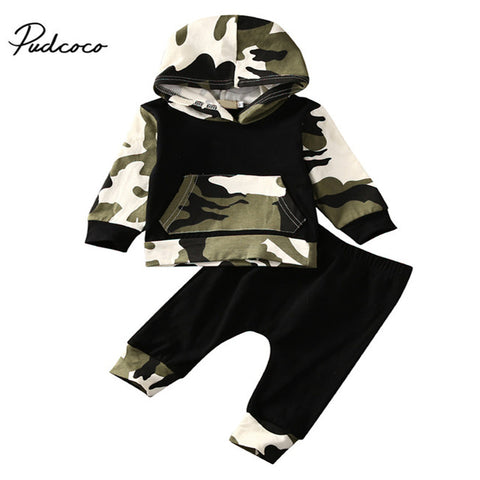 2pcs!! Autumn Spring Infant Clothes Baby Clothing Sets Baby Boys Camouflage Hoodie Tops +Long Pants 2Pcs Outfits 0-3Y