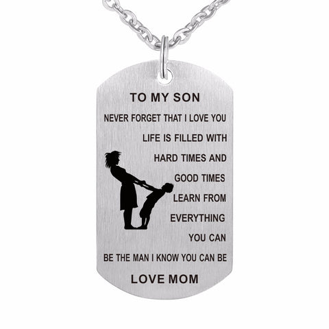 Mom to Son Dog Tag I Love You Stainless Steel Chain