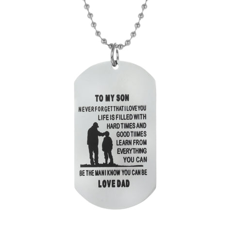 """To My Son"" Dog Tag Stainless Steel Necklace"