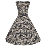 JOGTUME Camo Vintage Dresses Sleeveless 2017 Summer Women's Green Camouflage Vintage Gowns Dresses for Sale Plus Size (XS-4XL)