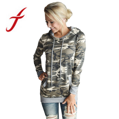 Feitong Autumn Womens Sweatshirts Casual Camouflage Printing Pocket Hoodies Hooded Pullover Tops camiseta feminina Best Quality