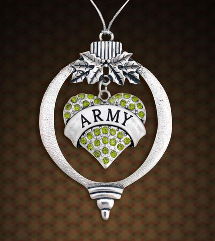 ARMY Heart Charm Embellished with Green Crystal Rhinestones in the Center of this Christmas ornament pendant