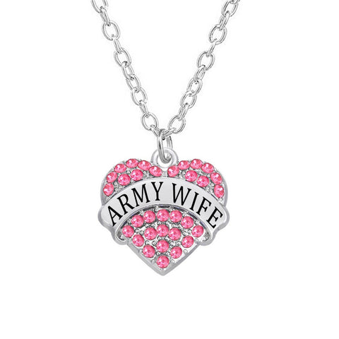 Army Wife Rhinestone Heart Necklaces