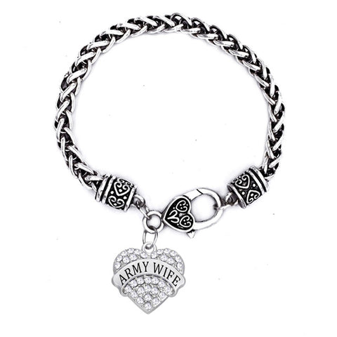 Rhinestone Heart Army Wife Bracelet