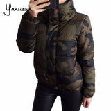 Yanueun Fashion Back Letter Print Camouflage Women Down Jackets 2017 Winter Warm Outwear Coats  Army Green Thick Jackets