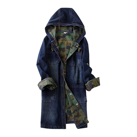 Single-breasted Long Denim Hooded Camouflage Jacket
