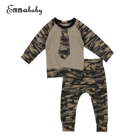 Toddler Military Style 2pc Long Sleeve shirt and Camouflage Pants