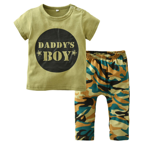 Toddler Army Green T-shirt and Camouflage Pants