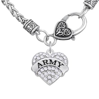 Crystal Army heart Pendant Necklace