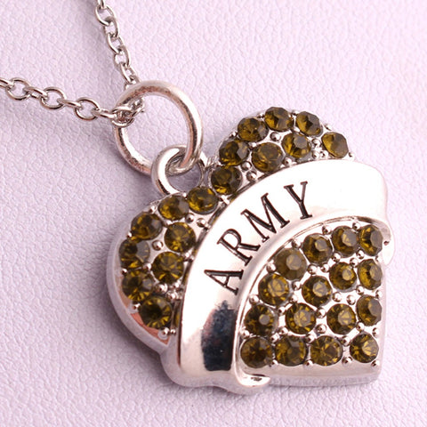 ARMY heart pendant wheat chain necklace Best- Selling