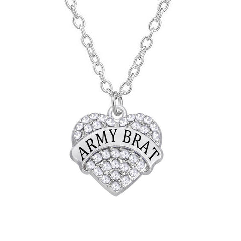 Alloy Rhodium Plated Heart In Rhinestone Army Brat Necklace