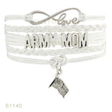 Infinity Love U.S. Army Mom Flag Charm Bracelet