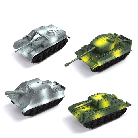 Finished set of 4 1:72 plastic pull back model military tank
