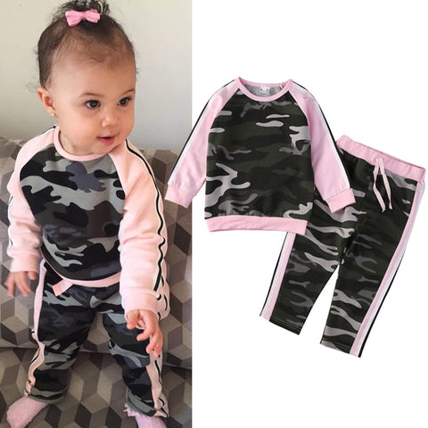2PCS Toddler Kids Girl Clothes Camouflage T-shirt Tops + Long Pants Outfits Clothing Set Sport Suit Children Tracksuit Costume