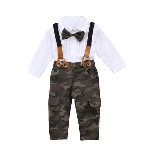 Children's White Bow Tie shirt and Camouflage Pants Set