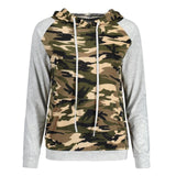 Women Tops Camouflage Pocket Hooded Pullover Women T-Shirt Cotton Blend Long Sleeve Camisetas Mujer #442