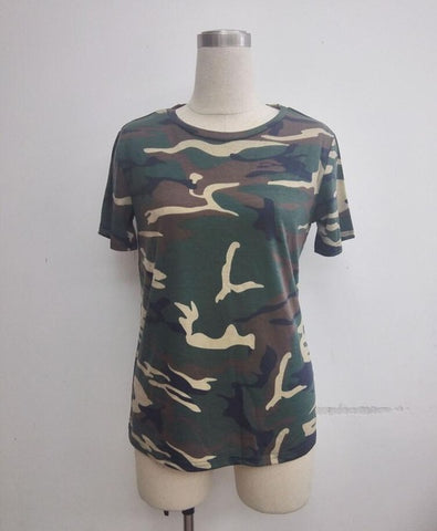 2018 new spring summer Women's T-shirt casual Camo Short Sleeve Camouflage T shirt tops T1003