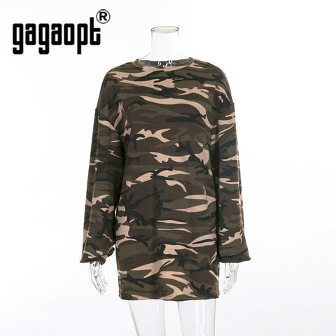 Gagaopt Streetwear T Shirt 2018 Autumn Women 95% Cotton O Neck Long Sleeve Camouflage Long T Shirt 3 sizes
