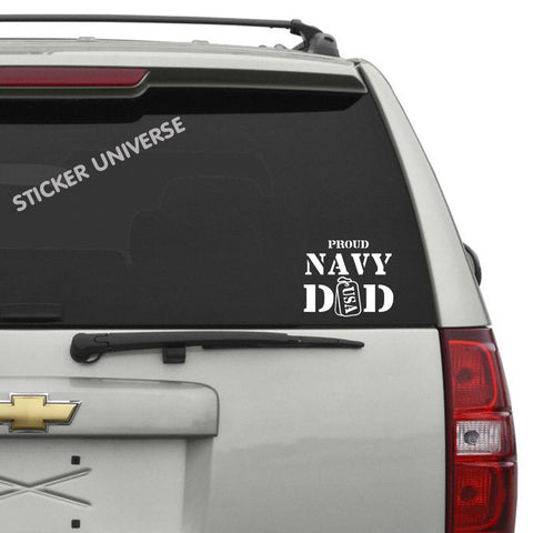 "Proud Navy Dad Vinyl Die Cut Decal Sticker 5""X6"""