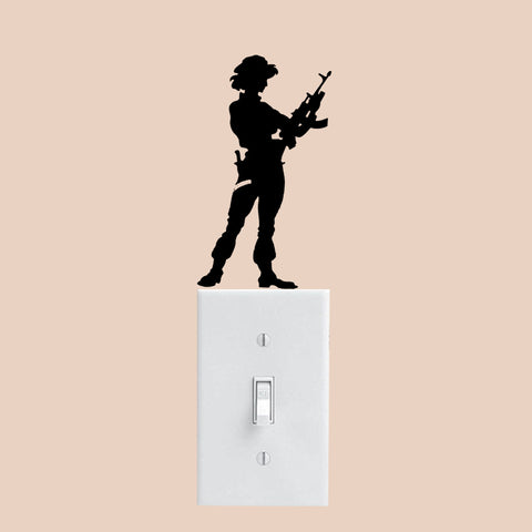 Female Soldier Wall Decal Switch Sticker