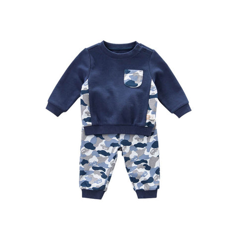 DB7634 dave bella spring baby boys navy clothes kids camouflage clothing sets toddler children suit high quality infant outfits