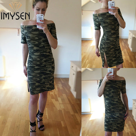IMYSEN Summer Autumn Casual Camouflage Printed Dress Women New Arrive Slash Neck Short Sleeve Mini Dress Empire Vestido