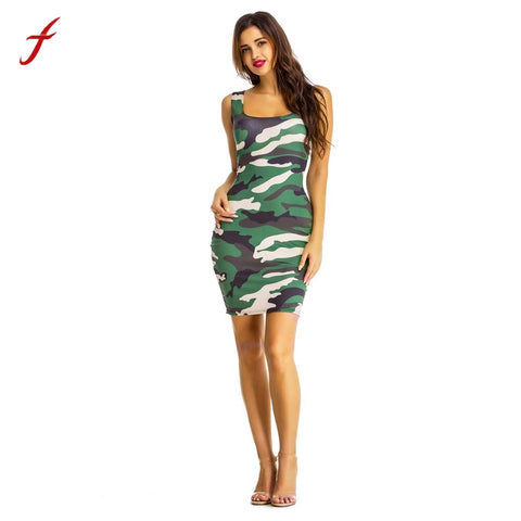 Women Clothings 2018 Summer Casual Dress Sexy Sheath Women Sexy Dress Camouflage Dress Sleeveless Dress vestidos femininos