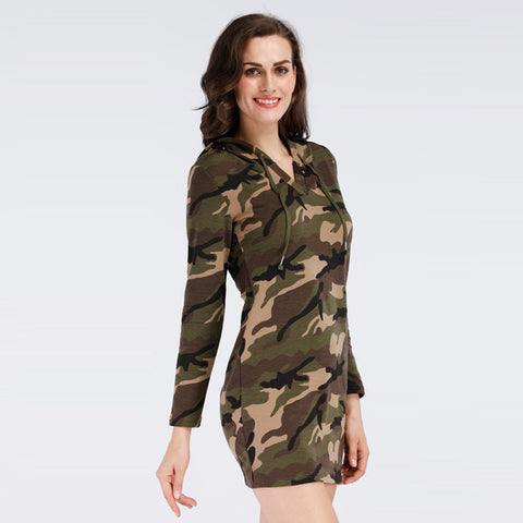 QMGOOD 2017 Autumn New Product Women Camouflage Dress with Hood and Pocket Knitting Long Sleeves Hooded Pencil Dress Casual Slim