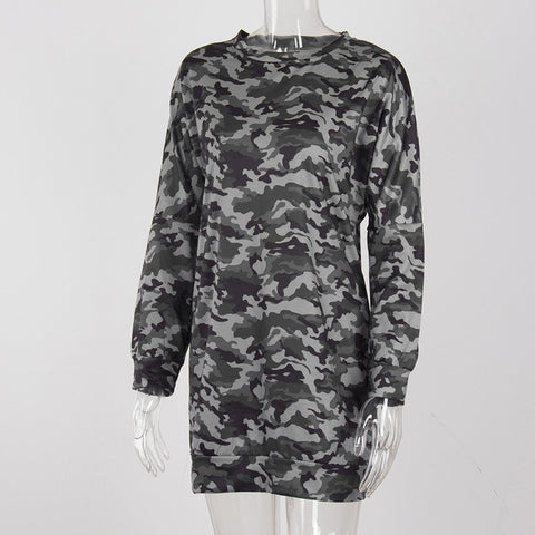 Long Sleeve O-Neck Women Dress Camouflage Oversized Casual Autumn Mini Dress Fashion Daily Dress Vestidos#121