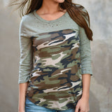 Hot Sale Women Ladies Women's Camouflage Army 3/4 Three Quarter Sleeve Tops Holes Stitching T-Shirts Casual Women T-Shirt