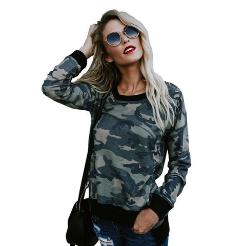 FLYMALL Women Autumn Camouflage Printed t Shirt with zipper Full Sleeves Round Collar Tops Casual Irregular Tshirt Harajuku Top