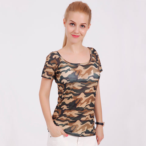 11 colors Women 2017 summer print knitting Army camouflage tshirt big o-neck tops tees shirts female casual short sleeve t-shirt