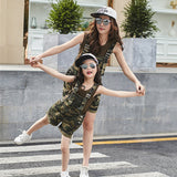 Girls and Womens Camouflage Parent-Child Two Piece Shorts Set