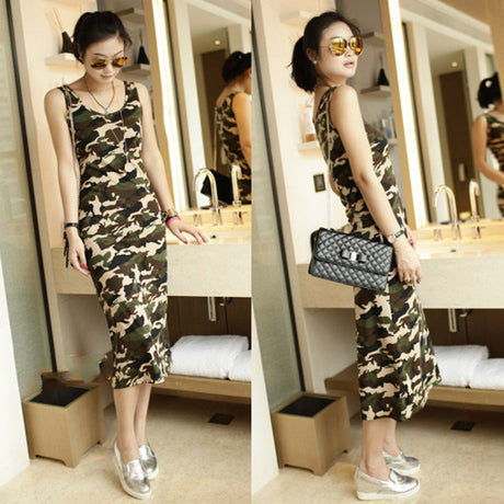 2016 New summer sleeveless camouflage print long women tank dress novelty cotton casual slim beach wear woman tunic army green