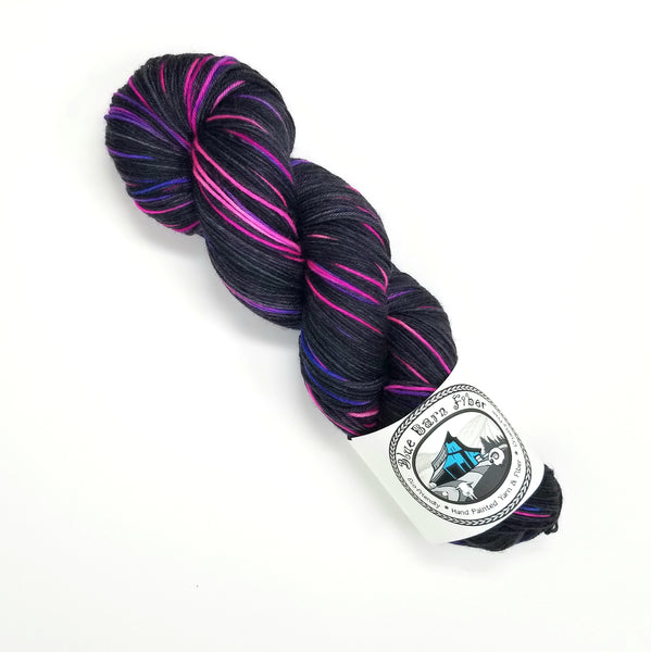 Electric Dreams - Hand dyed yarn -SW Merino Fingering Weight pink purple black