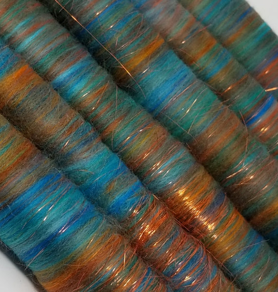 Copper Patina - Rolag Puni Merino wool - spinning felting dreads pink red sparkle