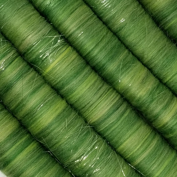 Grass - Rolag Puni - Merino wool - spinning felting dreads green sparkle