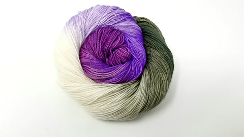 Orchid - Hand dyed yarn Merino Fingering purple green moss flower