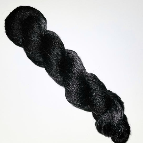 Black tonal solid - Hand dyed yarn - SW Merino Fingering Choose your base - knitting crocheting weaving quick knit - obsidian charcoal grey black
