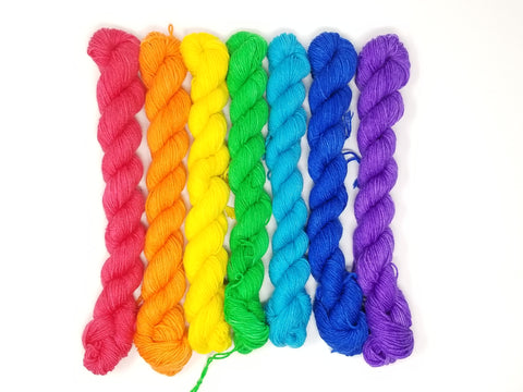 Rainbow ROYGBIV mini set of 7 solid colored skeins - Hand dyed gradient yarn