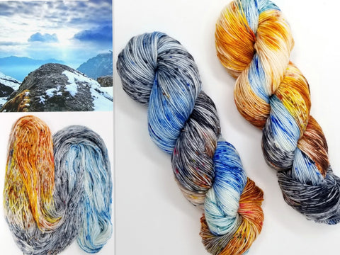 Mountains of the Moon - Hand dyed yarn - SW Merino Fingering Weight 438 yards - knitting crocheting weaving- brown orange grey blue spatter indie dyed
