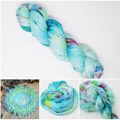 Tide Pool - Hand dyed Yarn - 100g Aqua blue rainbow spatter