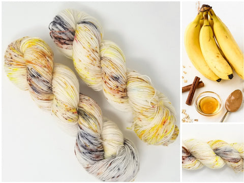 Banana Breakfast-  Hand dyed yarn - SW Merino Fingering Weight 438 yards - knitting crocheting weaving- yellow brown black spatter speckle