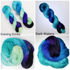 Evening Drinks - Hand dyed yarn - SW Merino Fingering Weight black blue aqua