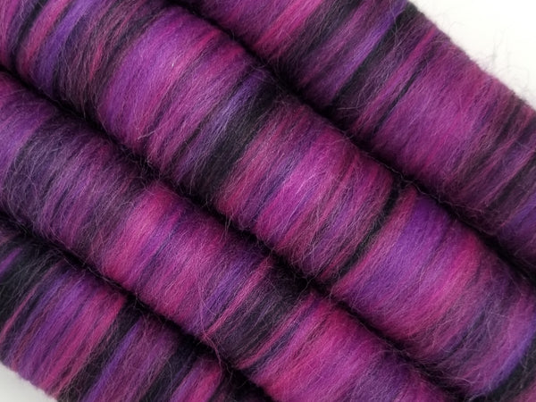 Gothic Rose- Rolag Puni Merino wool - spinning felting dreads pink purple black