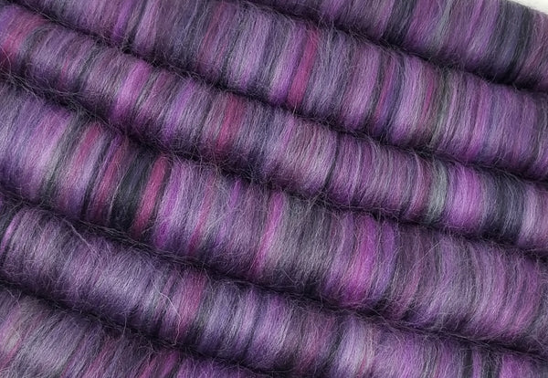 Jack's Lament - Rolag Puni Merino wool - spinning felting dreads purple black grey gray