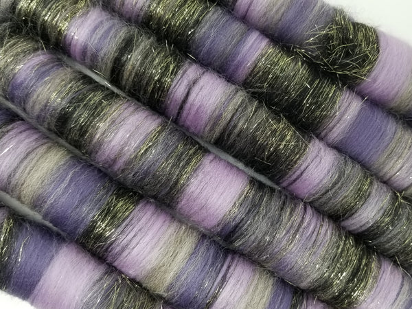 Magic Beans - Rolag Puni Merino wool - spinning felting dreads purple black sparkle gold grey gray
