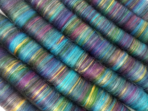 Sunken Treasure - Rolag Puni Merino wool - spinning felting dreads - blue purple violet green gold